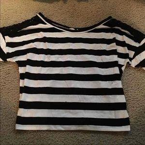 Rewind Crochet Sleeve Dolman Striped Top